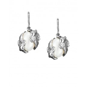 Seawater Cast Encased Handmade Oval Pearl Earrings