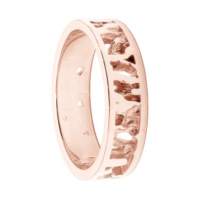 Cornish Seawater Textured Nautical 9ct Rose Gold Handmade Wedding Ring