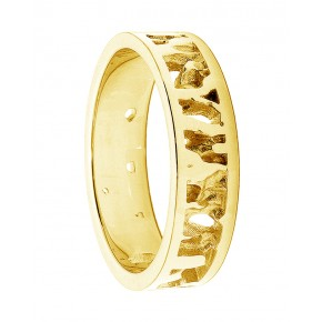 Cornish Seawater Textured Nautical 14ct Yellow Gold Handmade Wedding Ring