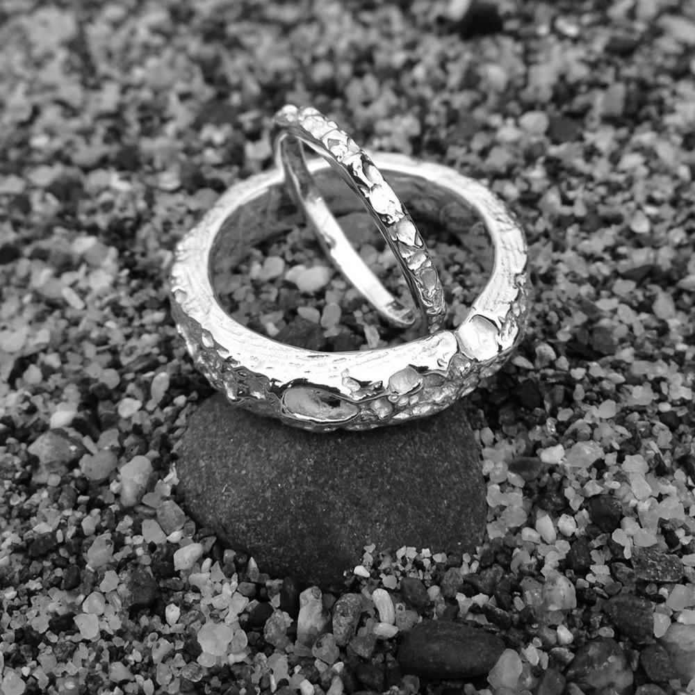 Wedding Bands Cambridgeshire: Handmade Cornish Beach Sand Textured 14ct Yellow Gold