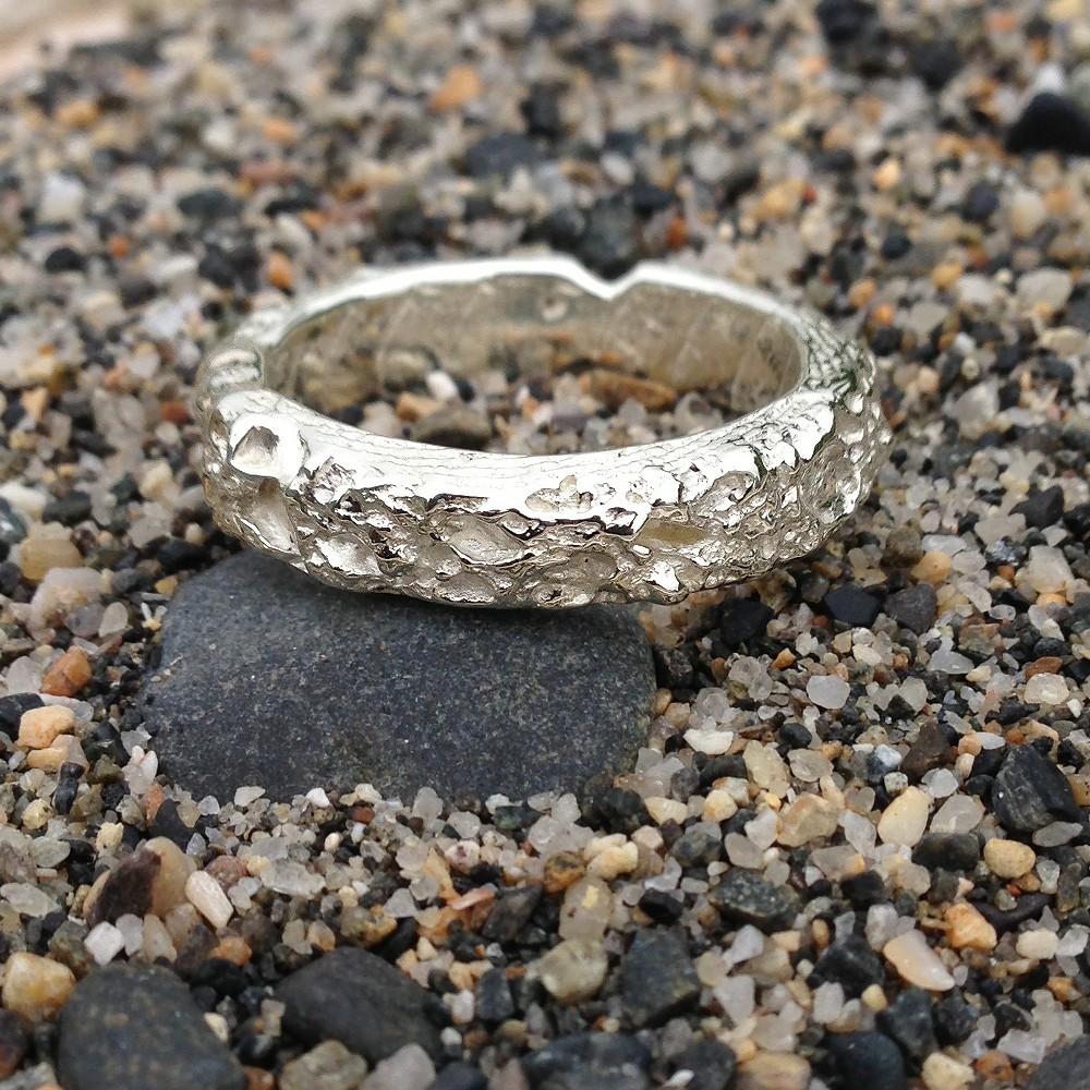 Wedding Bands Cambridgeshire: Handmade Cornish Beach Sand Textured 9ct White Gold
