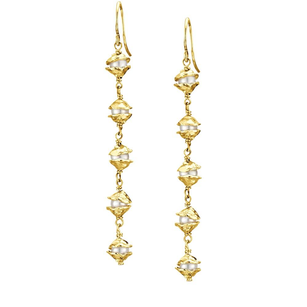 small encased silver handmade pearl drop earrings joseph