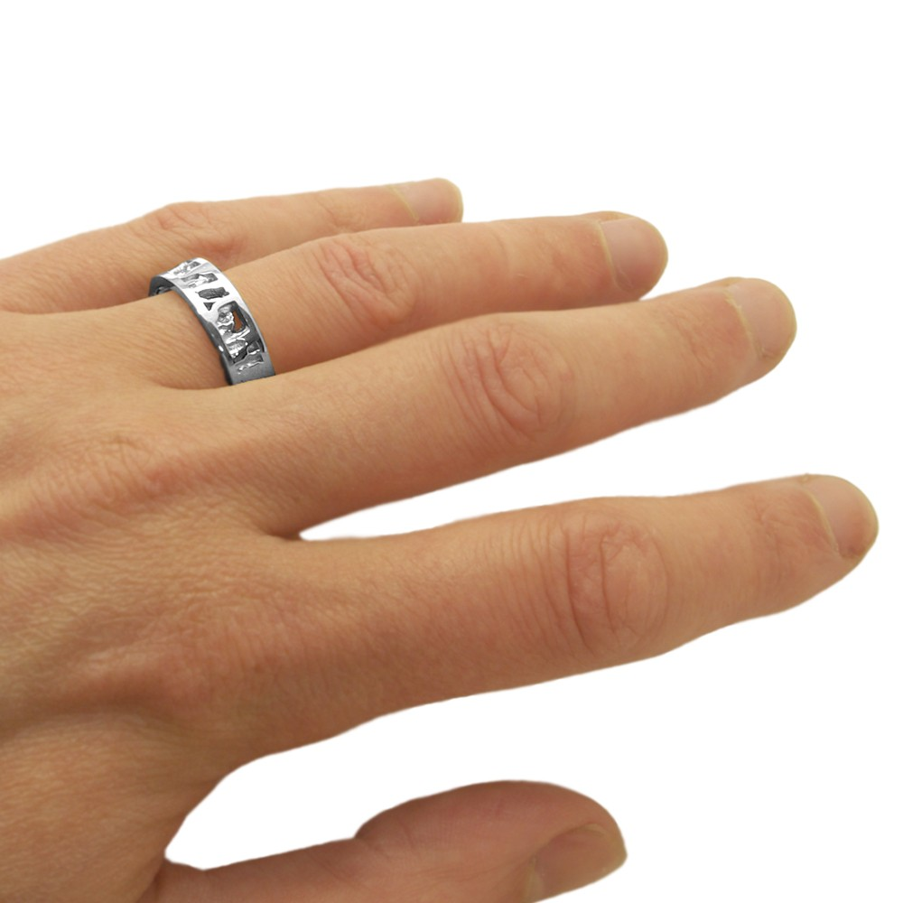 Cornish Seawater Textured Nautical Sterling Silver Uk Handmade Wedding Ring From Cornwall
