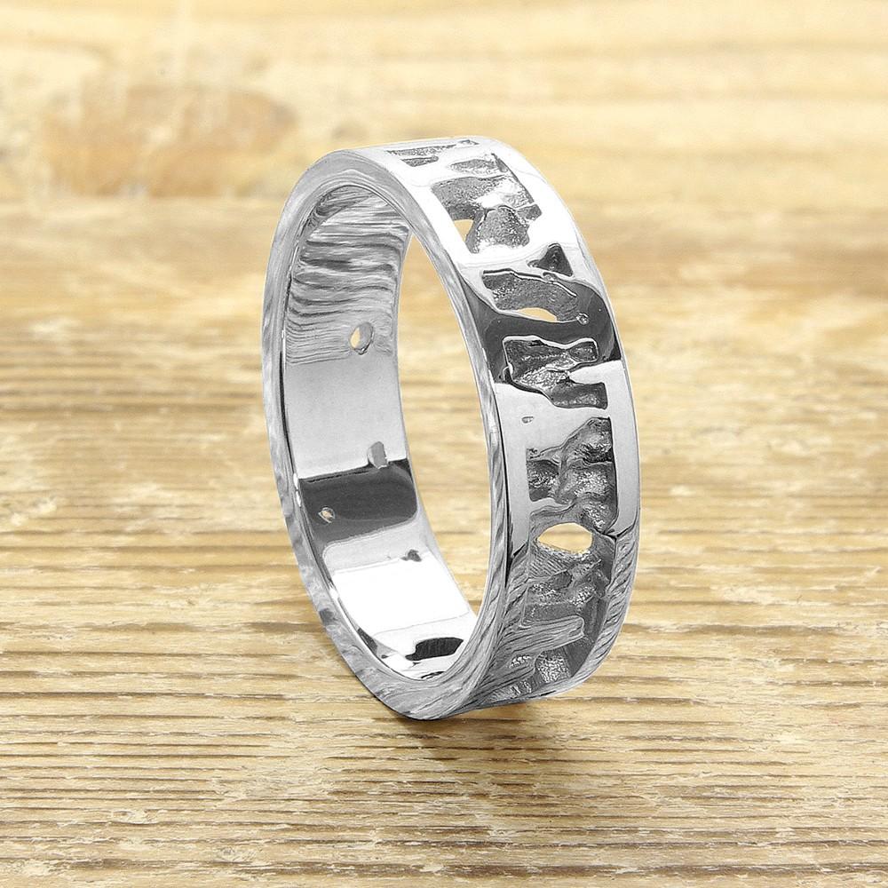 Wedding Bands Cambridgeshire: Cornish Seawater Textured Nautical 9ct White Gold UK